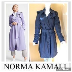 NORMA KAMALI Teal BLue Trench Coat Sz M.